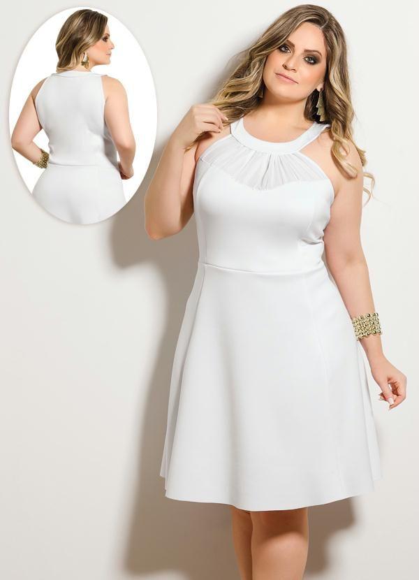 2aa40dc8019f Vestido Trapézio Evasê Branco Plus Size - Quintess | Fashion Plus ...