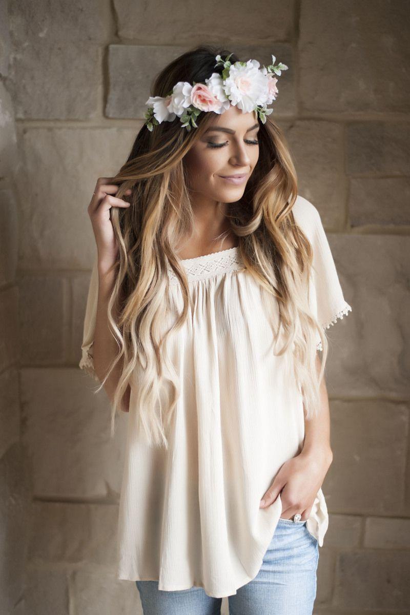 Beige Crochet Trim Boho Top - Dottie Couture Boutique