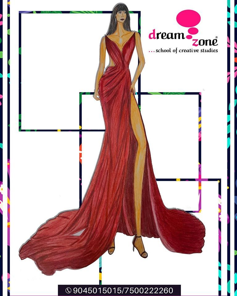 Monochromatic Magic A Ravishing Illustration Of The Gorgeous Crimson Red Couture Gown By M In 2020 Fashion Designing Institute Fashion Designing Course Fashion Design