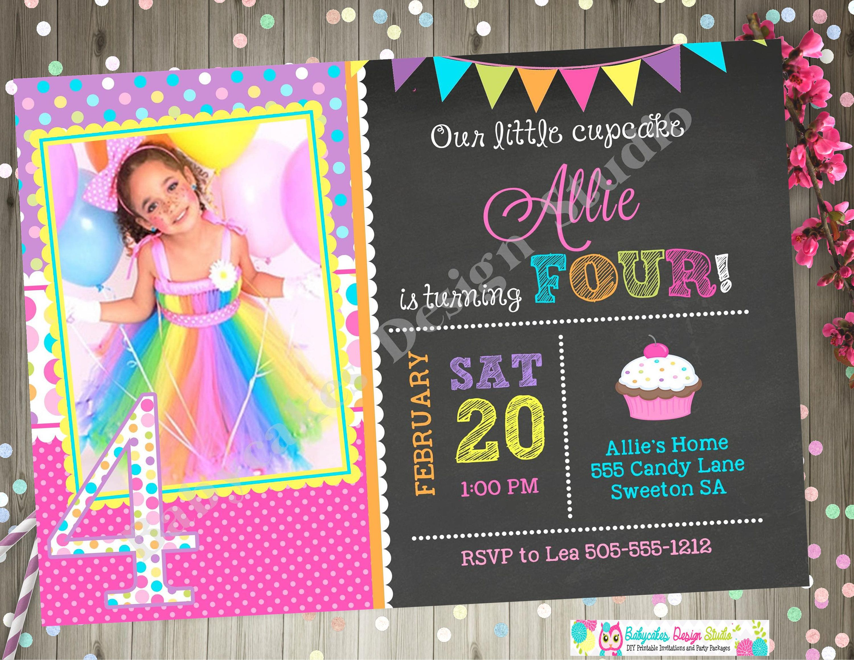Cupcake birthday invitation invite cupcake invitation sprinkles ...