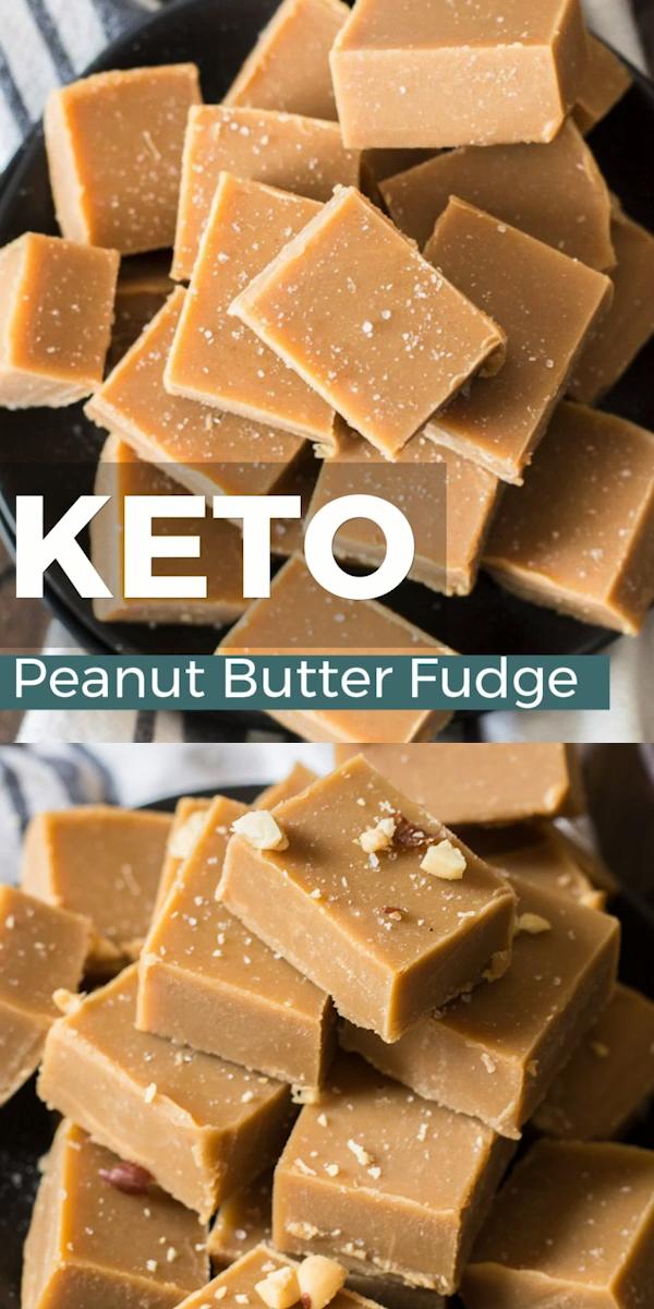The best keto peanut butter fudge!!  Ultra creamy, three ingredient Keto Peanut Butter Fudge that is only 2 net carbs per slice!  #keto