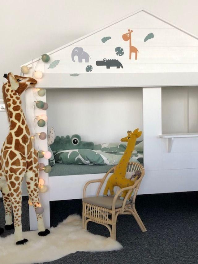 Kinderbett Hausbett im DschungelLook, Kinder Hausbett im