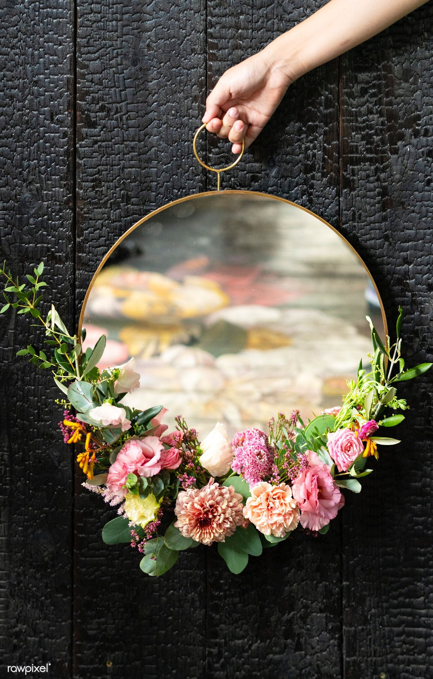 Cute Round Mirror Decorated With Flowers Premium Image By Rawpixel Com Teddy Rawpixel Floral Mirror Frame Flower Mirror Frame Floral Mirror