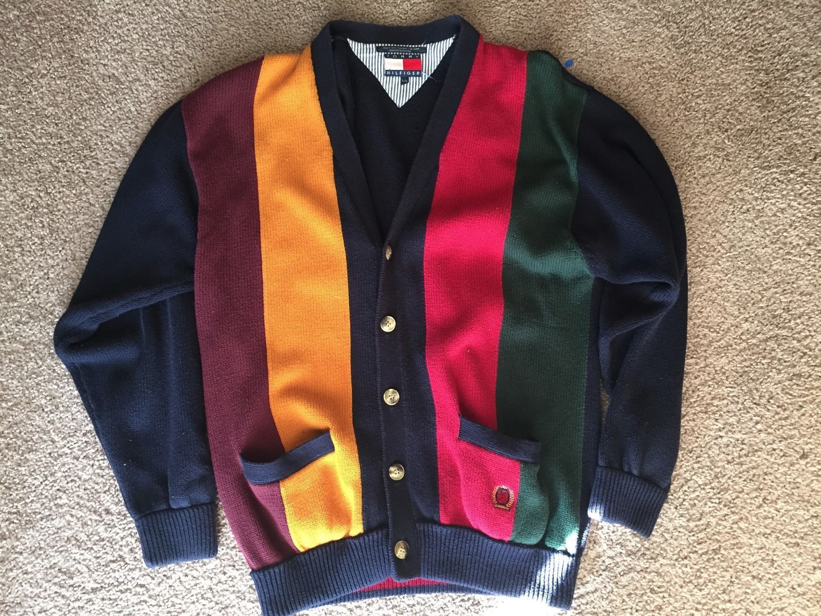 Tommy Hilfiger Vintage Multi Color Sweatercardigan Mens L Clod