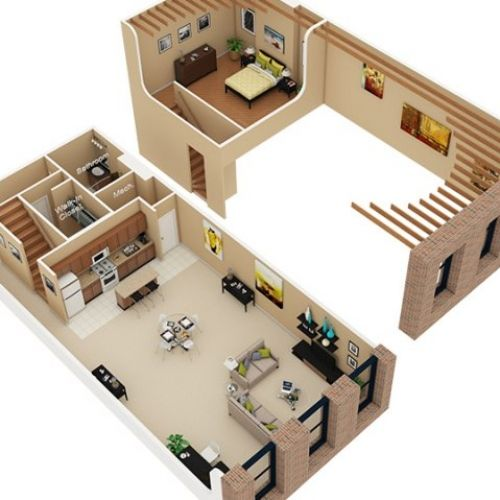 3d Floor Plan Image 2 For The Sleep Loft Floor Plan Of Property Cobbler Square Loft Apartments Rent 1 740 Planos De Casas Casas De Una Planta Disenos De Unas
