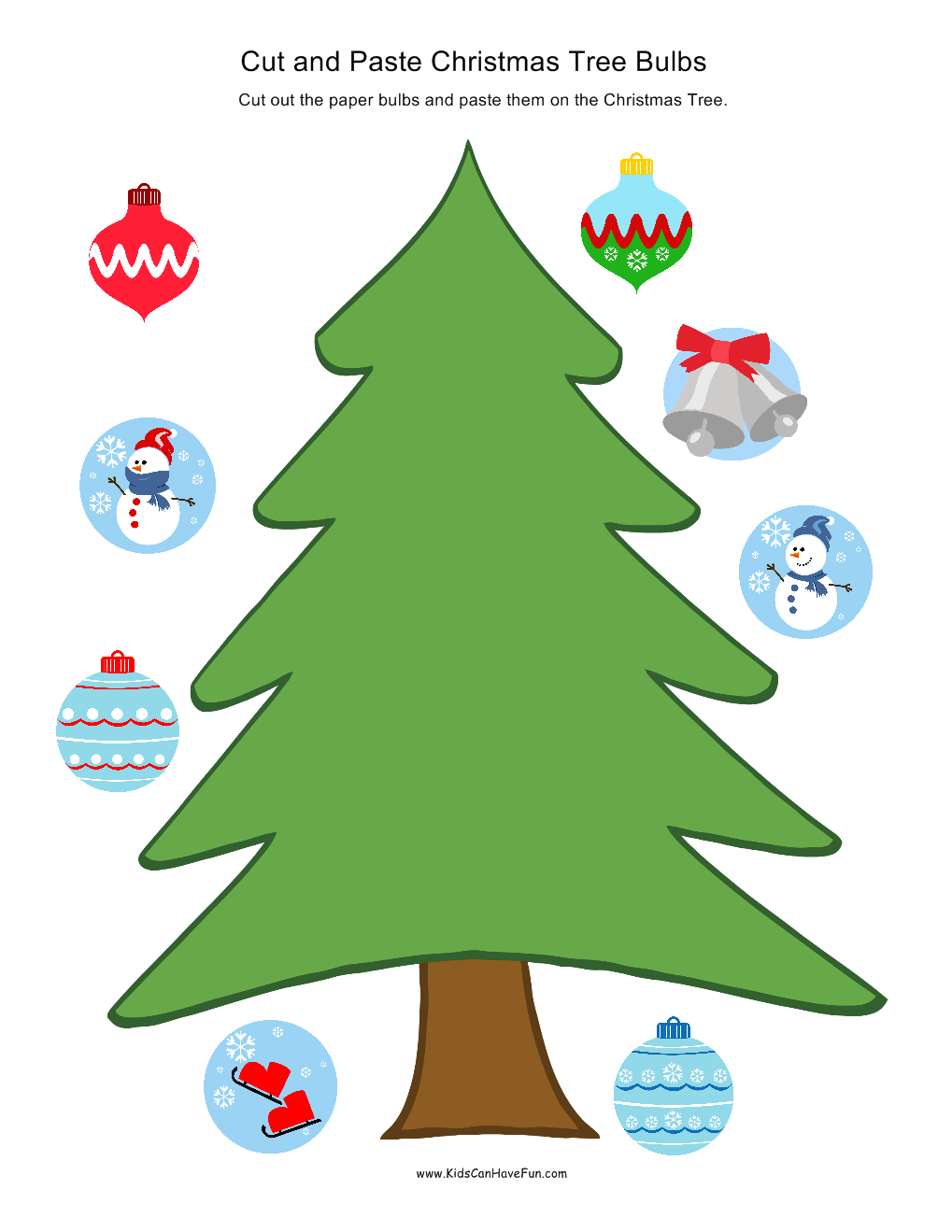 Cut and Paste Christmas Tree Bulbs   kids games   Pinterest ...