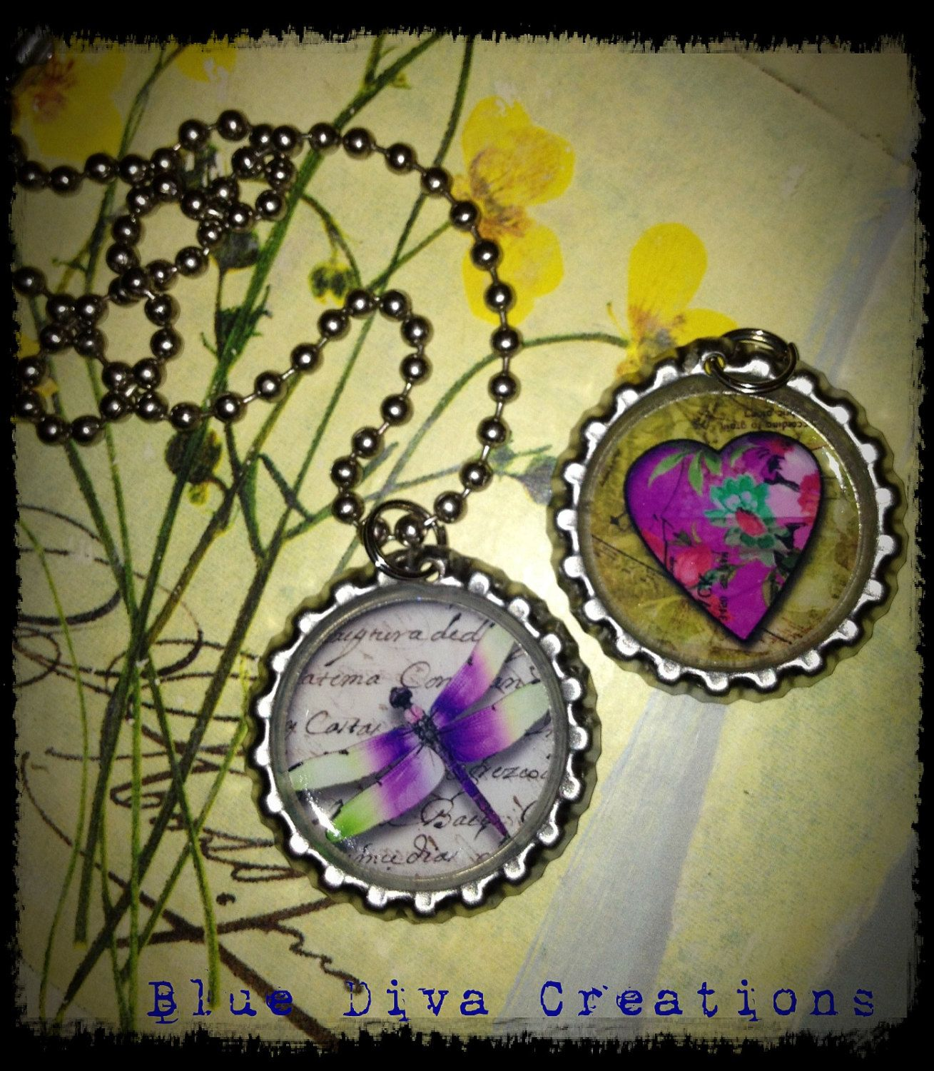 pendant setdragonfly and heart necklace by bluedivacreations