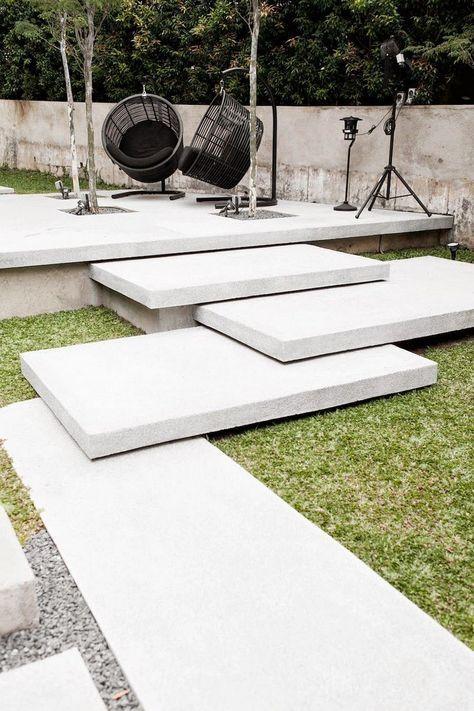 moderne gartentreppe betonstufen überlappend setzen   Garten ...