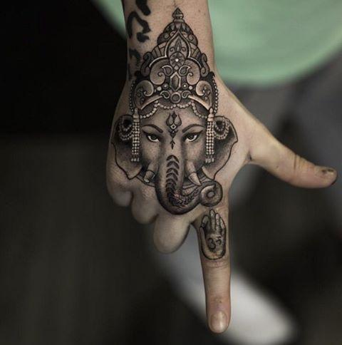 Nice Hand Piece Tattoos Hindu Tattoos Indian Elephant Tattoo
