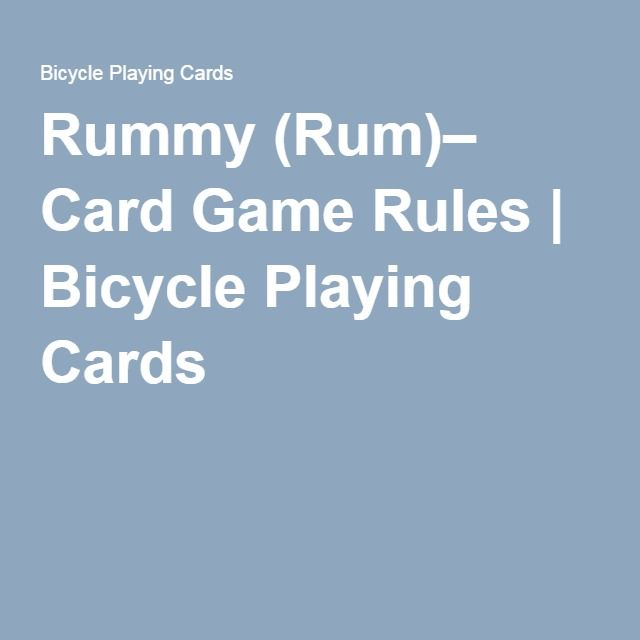 Rummy Rum Card Game Rules Crafts For Preschool Pinterest