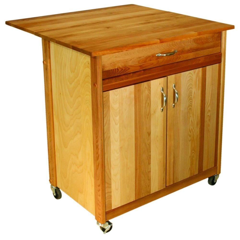 Catskill craftsmen natural kitchen cart with butcher block top