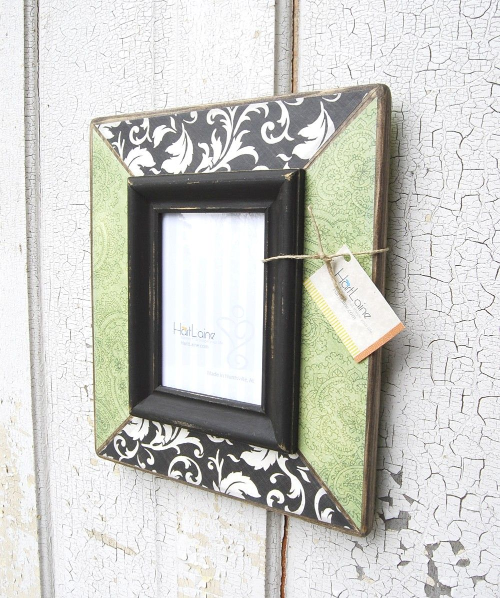 5x7 Damask Decoupaged Frame - Green and Black. $55.00, via Etsy ...