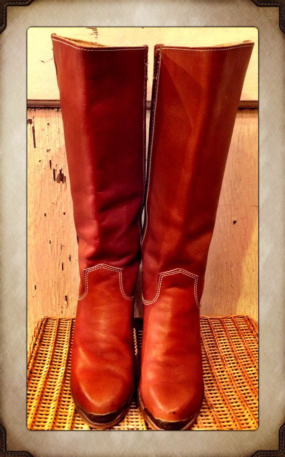 b3754890227 Vintage Tall Whiskey Western Cowgirl Campus Boots from Zodiac size 8 ...