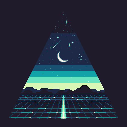 Pixel Art Triangle Geometric Scene Night Sky Pixelart Pixel Art Night Art Pixel Art Background