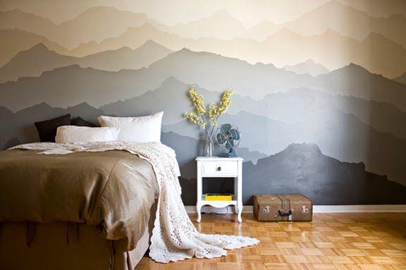 Peinture Murale Dégradé De Montagnes Tete De Lit