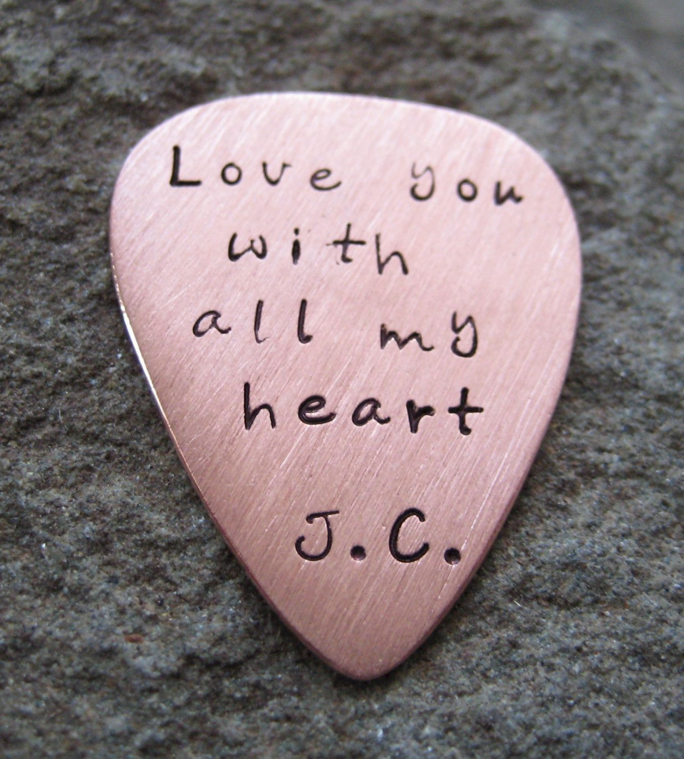 Copper Hand Stamped Guitar Pick 7th Wedding Anniversary Idea The