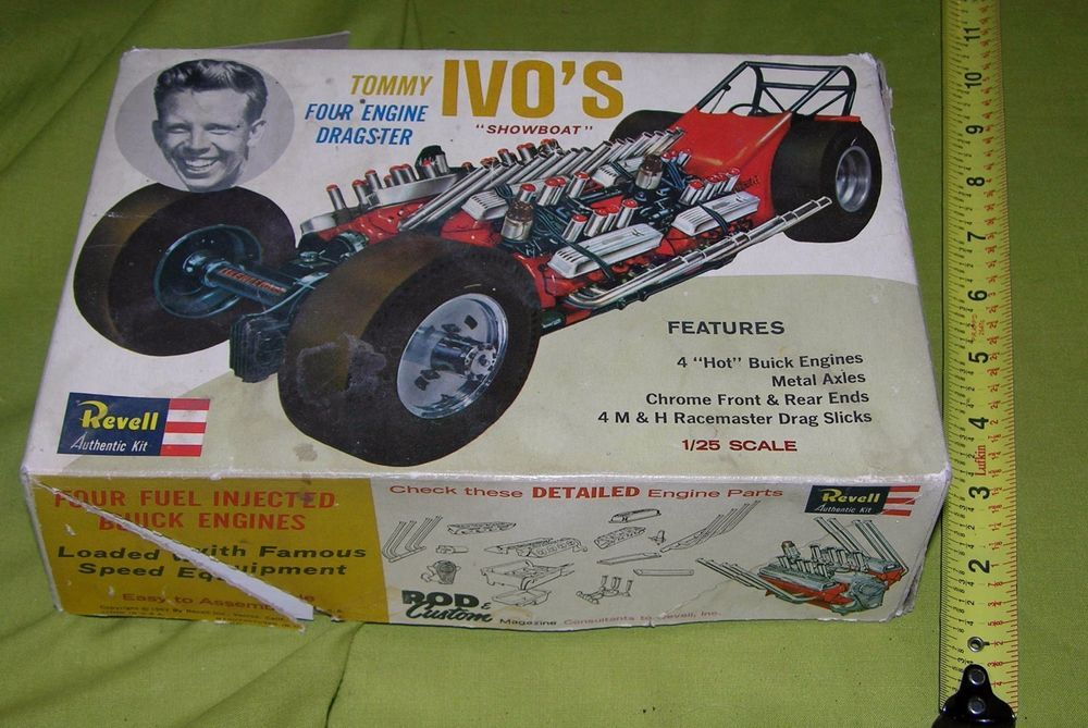 VINTAGE TOMMY IVO SHOWBOAT FOUR ENGINE DRAGSTER REVELL BOX PART INSTRUCTION 1963 #Revell