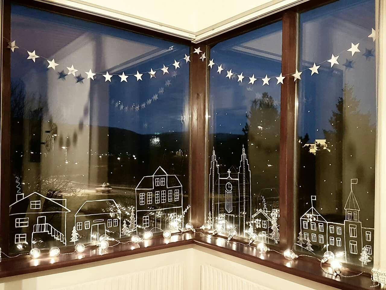 chalk pen on window for nice winter or holliday decoration jul rh pinterest com