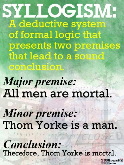 Syllogism In Logic A Form Of Deductive Reasoning Consisting Of A