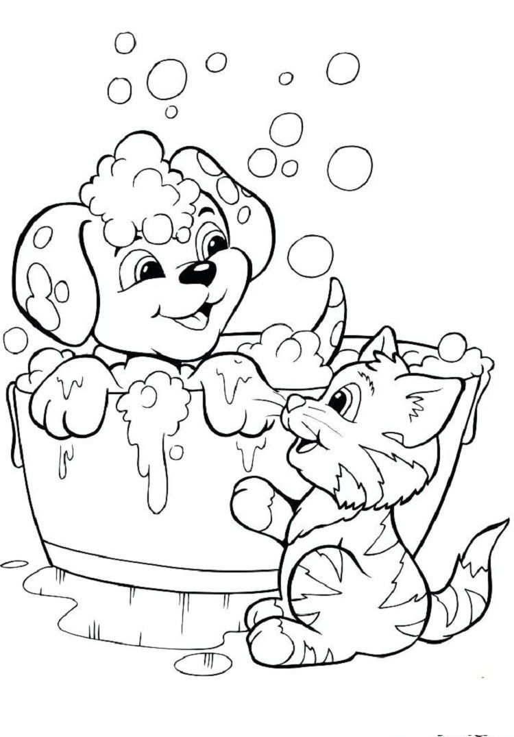 Puppy Kitten Coloring Pages Download Or Print The Image Below