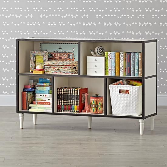 Fulton Street Wide White Bookcase  | The Land of Nod