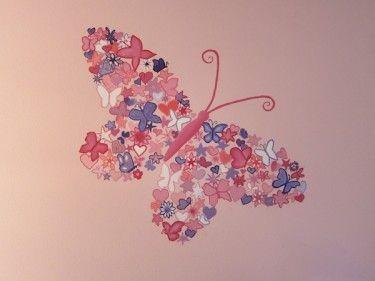 Voorbeelden Babykamers Kleuren : Muurschildering vlinder met verschillende kleuren roze en paarse