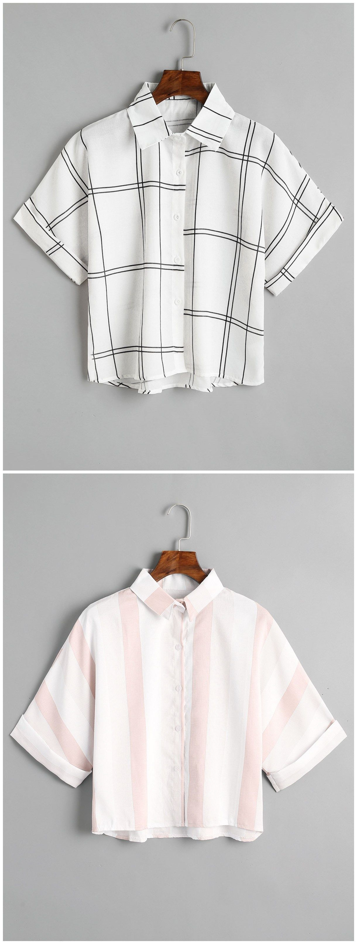 Up to 80% OFF! Loose Button Down Checked Shirt. #Zaful #Tops zaful ...