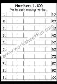 Missing numbers 1 – 100 – One Worksheet | Kindergarten ...