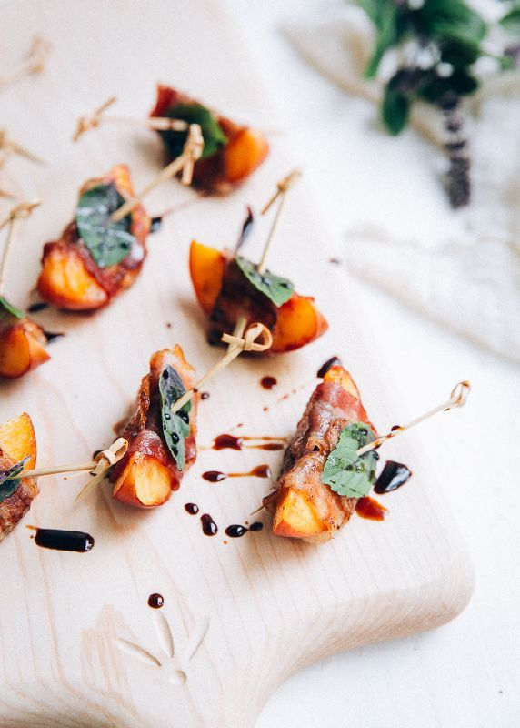 Grilled Nectarines + Peaches wrapped in Bacon