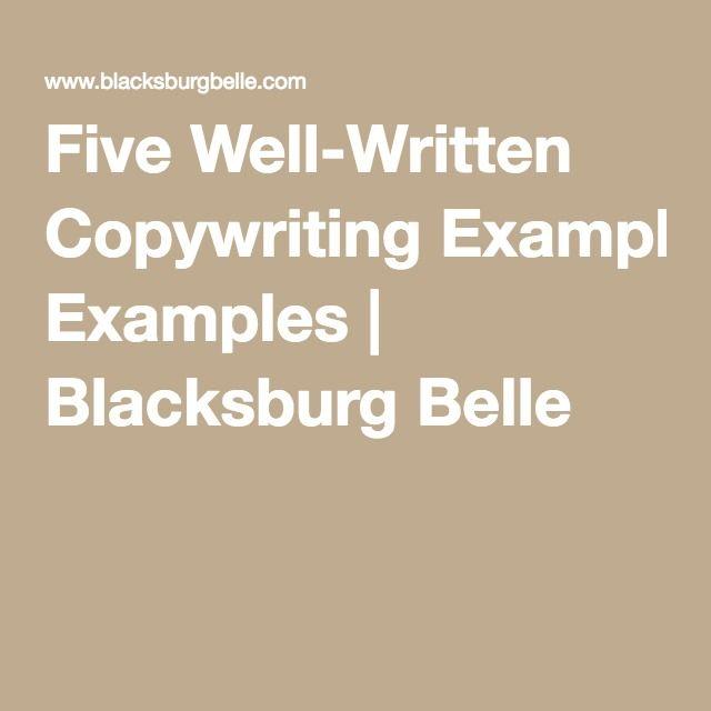 Five Well-Written Copywriting Examples   Blacksburg Belle