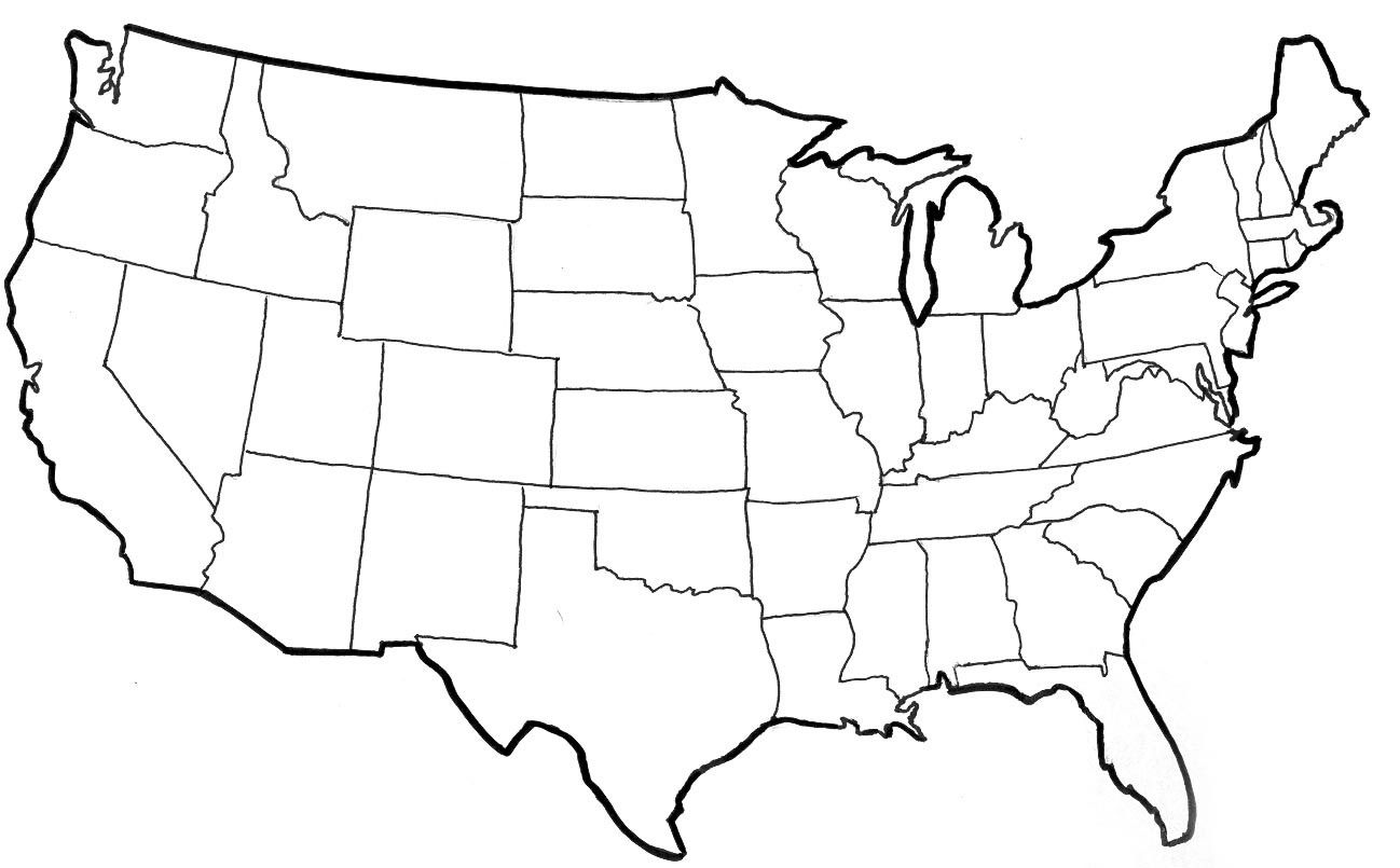Empty Us Map Empty Map Of The Usa empty map of usa within 1298 X 805 | Coloring