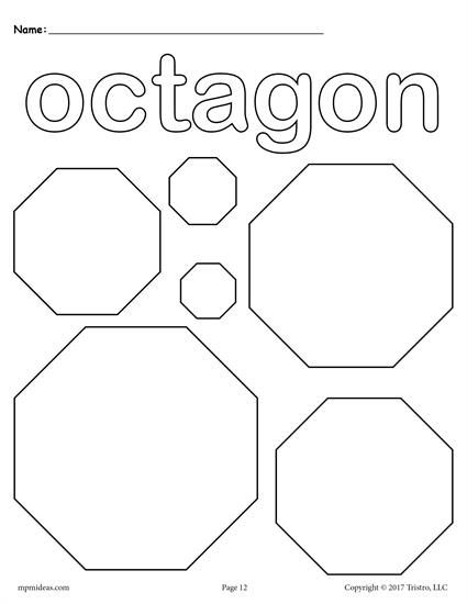 12 Shapes Coloring Pages Shape Coloring Pages Preschool Coloring Pages Shapes Preschool Octagon shape worksheets for preschool