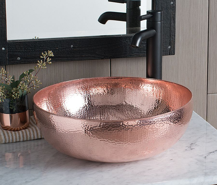 Hammered Copper Variant Of The Fabulous Maestro Sink Adds Metallic Sheen To The Bathroom Copper Sink Bathroom Copper Bathroom Copper Vessel Sinks