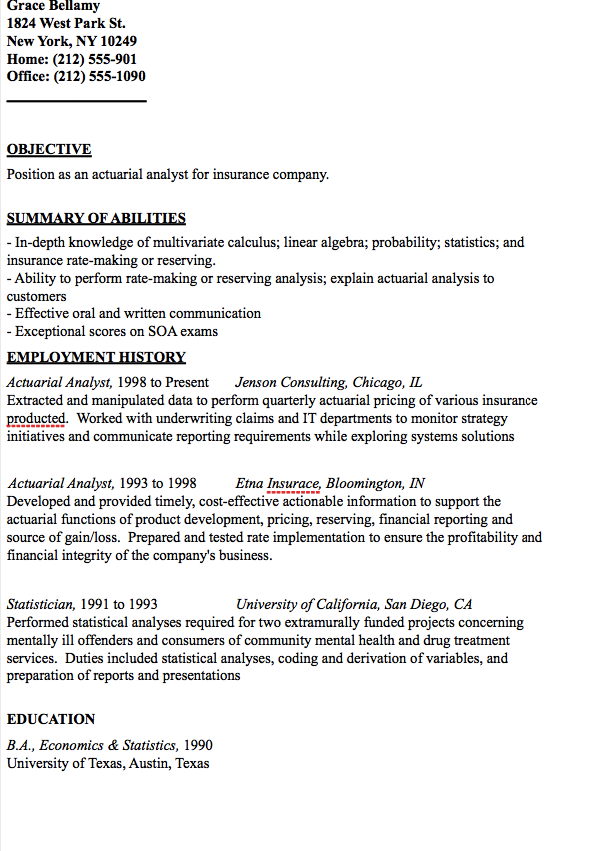 actuarial analyst resume template
