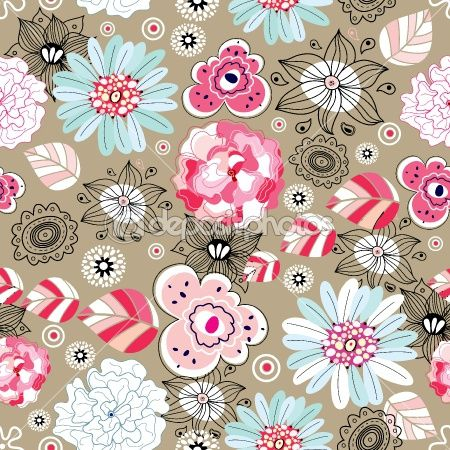 Seamless floral pattern by tanor - Stock Photo