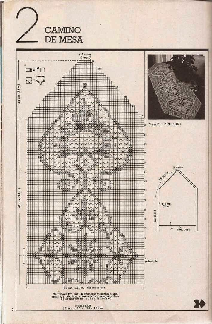 451 szydełkowane bieżnik lub szydełkowane   филейное вязание,вышивка ...