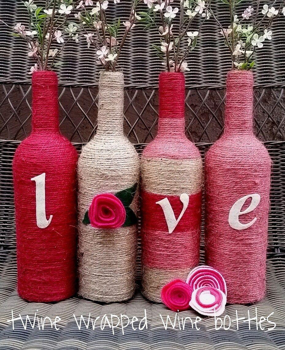 Twine Wrapped Wine Bottles Valentines Wine Bottle Crafts Wrapped Wine Bottles Wine Bottle Diy Crafts
