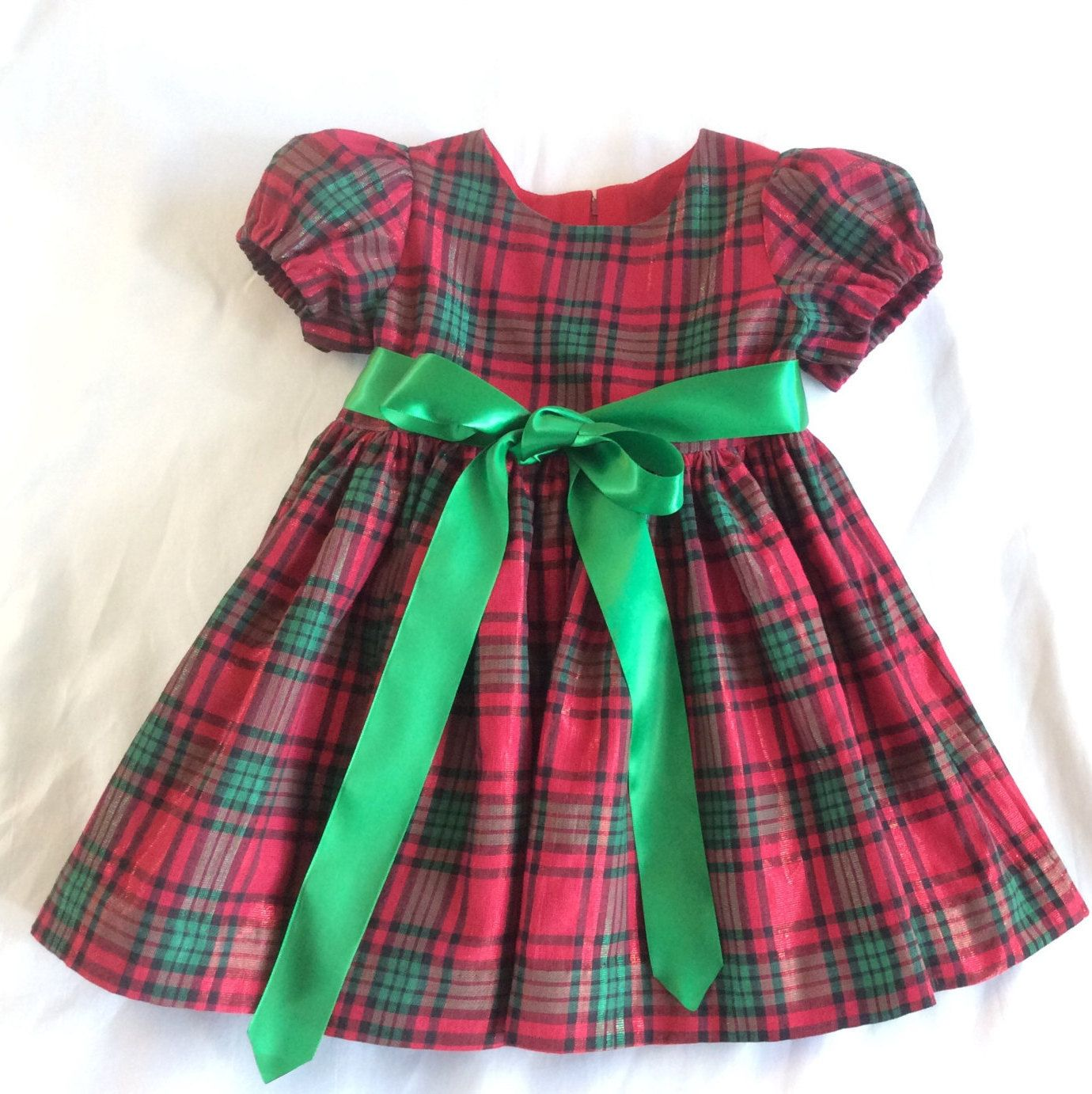 Girls Toddlers Christmas Dress Red Green Plaid Dress Cotton Etsy Toddler Christmas Dress Girls Cotton Dresses Green Plaid Dress