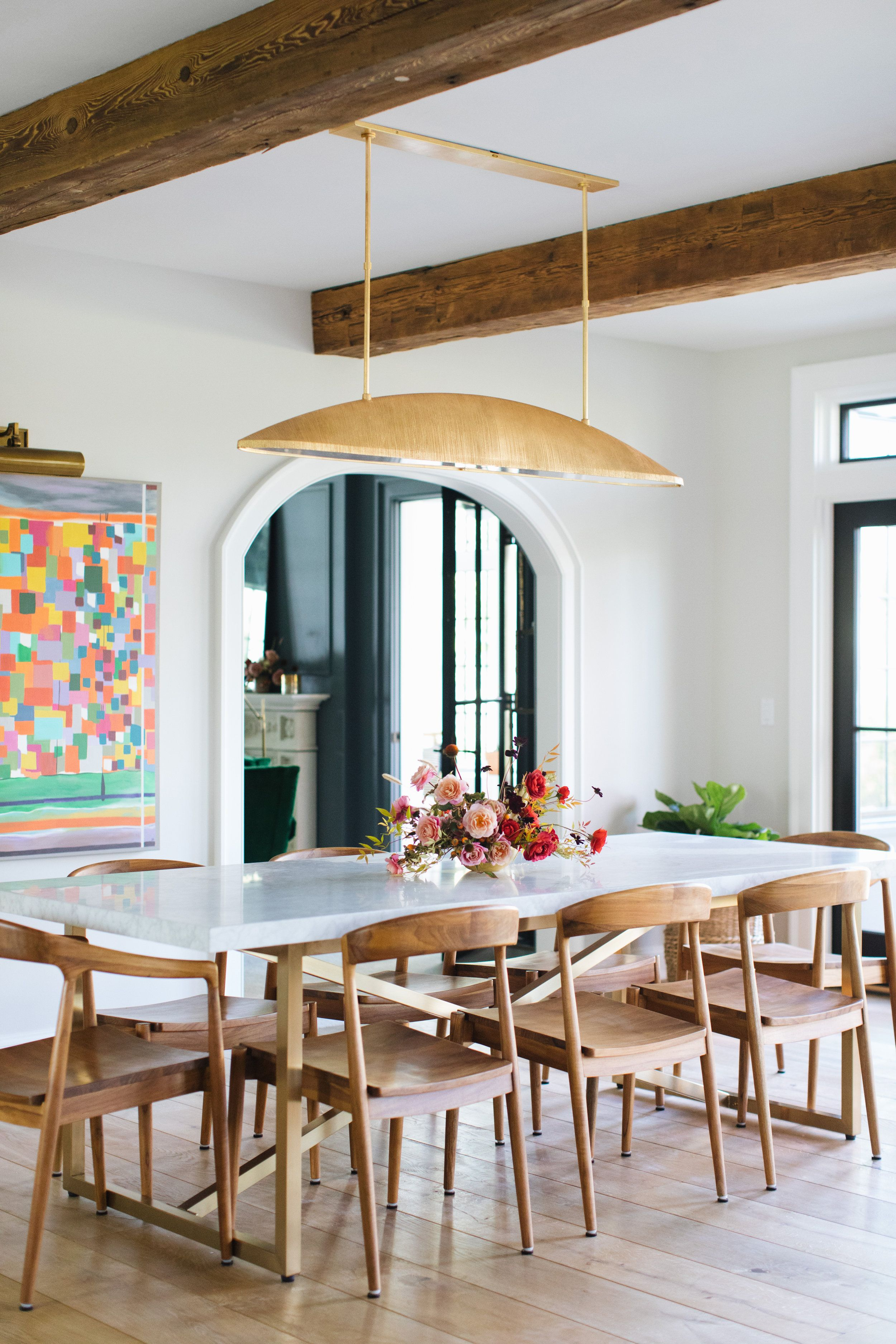 Modern Dining Room With Gold Pendant Light By Kelly Wearstler On Thou Swell Thouswellblog Dining Room Sets Modern Dining Room Dining Room Decor