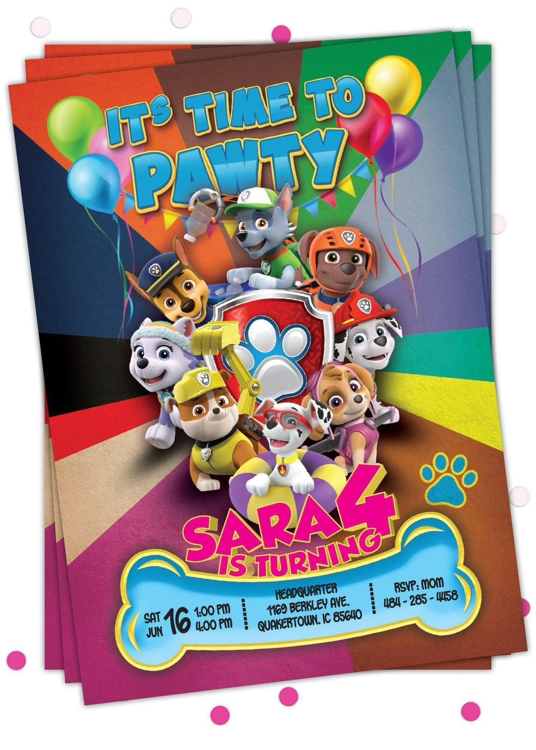 Paw Patrol Invitations - Paw patrol invitations, Paw patrol birthday invitations, Pig birthday invitations, Peppa pig birthday invitations, Paw patrol birthday party, Emoji birthday invitations - Invite loved ones with printable Paw Patrol invitations that you can personalize down to every detail!  Its time for a PAWty birthday!