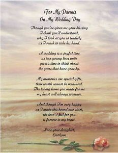Personalized Poem For Mother Father From Daughter On Her Wedding Day