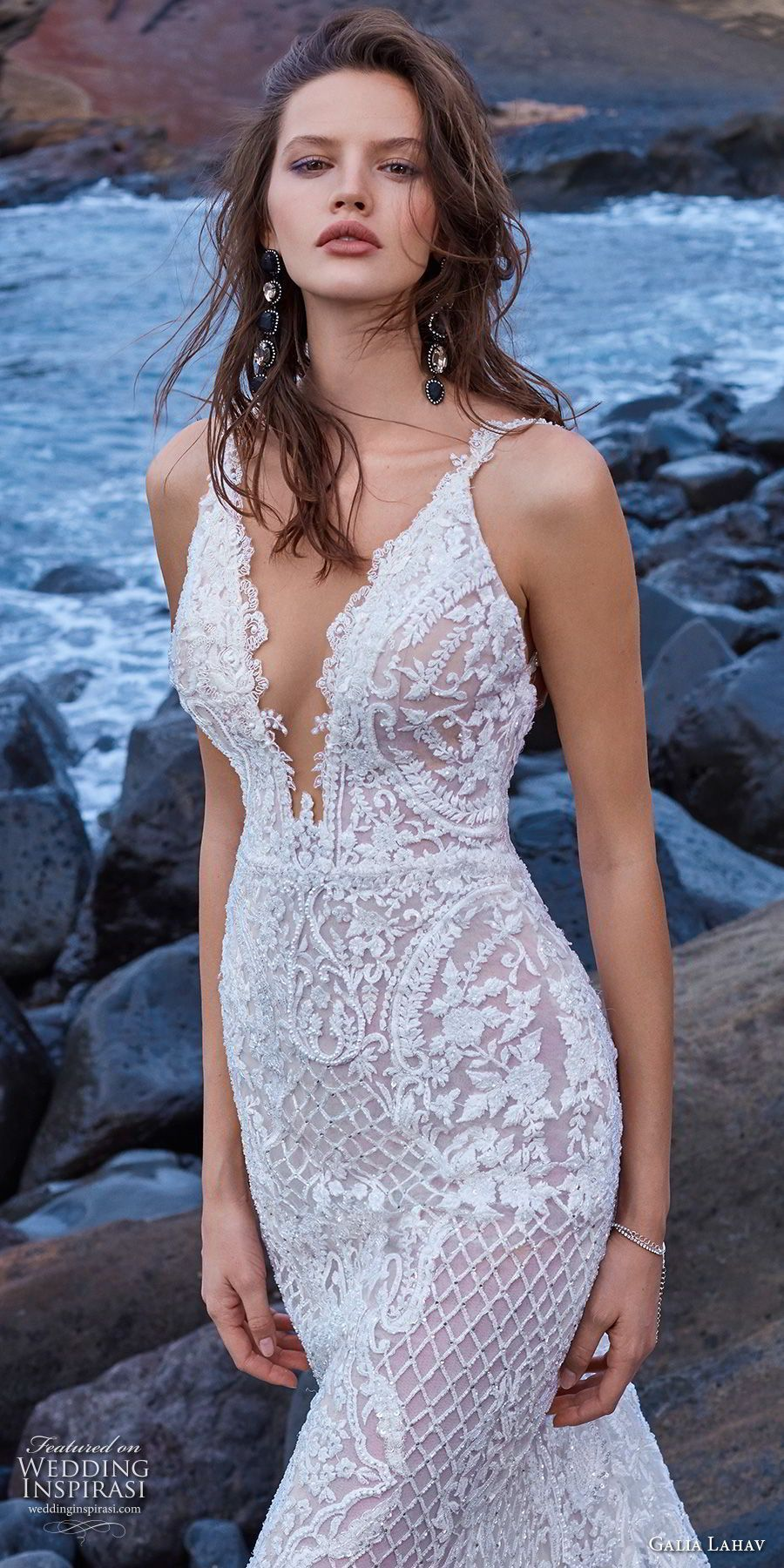 Galia lahav gala bridal sleeveless with strap deep v neck full