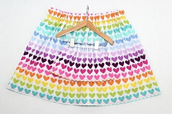 Size 5/6 Small Matching Girl and Doll Clothes. Girl and Doll Matching Rainbow Heart Skirts. 18 Inch #18inchdollsandclothes