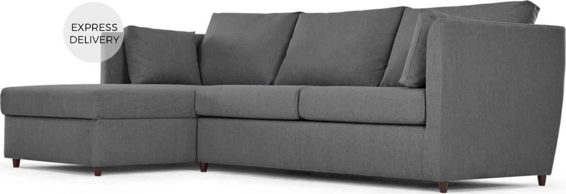 Milner Left Hand Facing Corner Storage Sofa Bed With Memory Foam Mattress Night Grey Sofa Corner Storage Sofa Bed