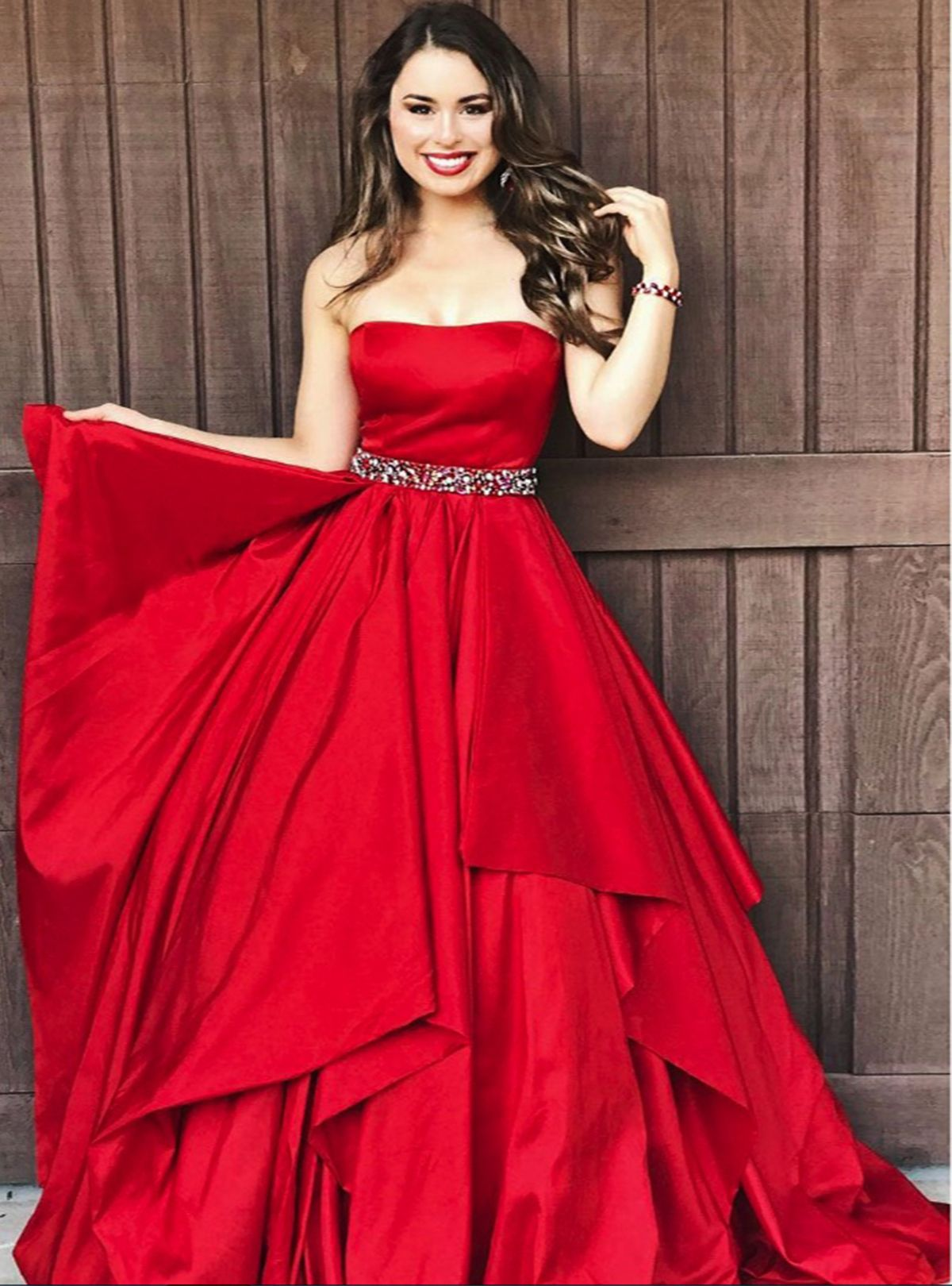 Sweet dresses cute red satin long prom dress for teens dress