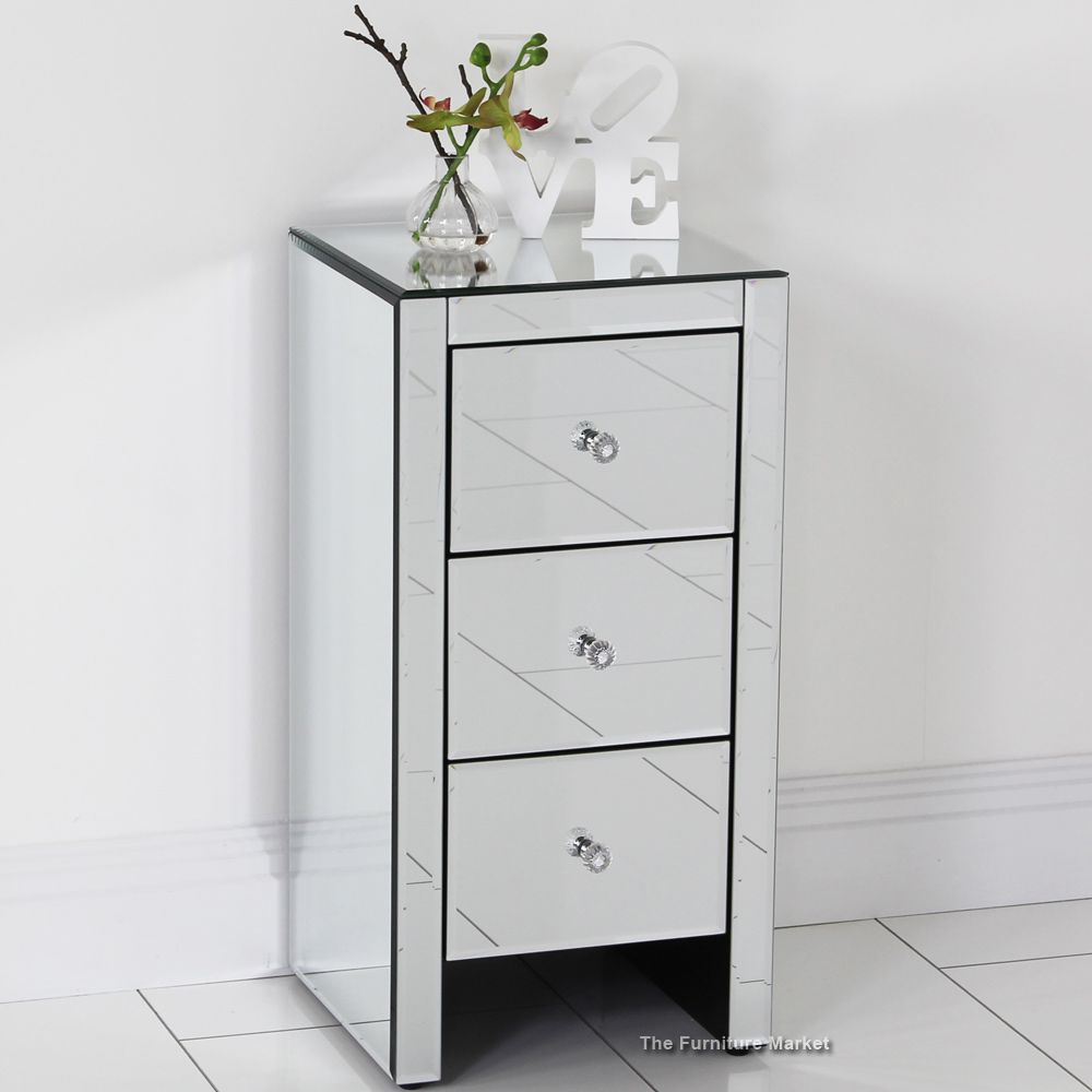 Venetian Mirrored 3 Drawer Slim Bedside Favourites Pinterest