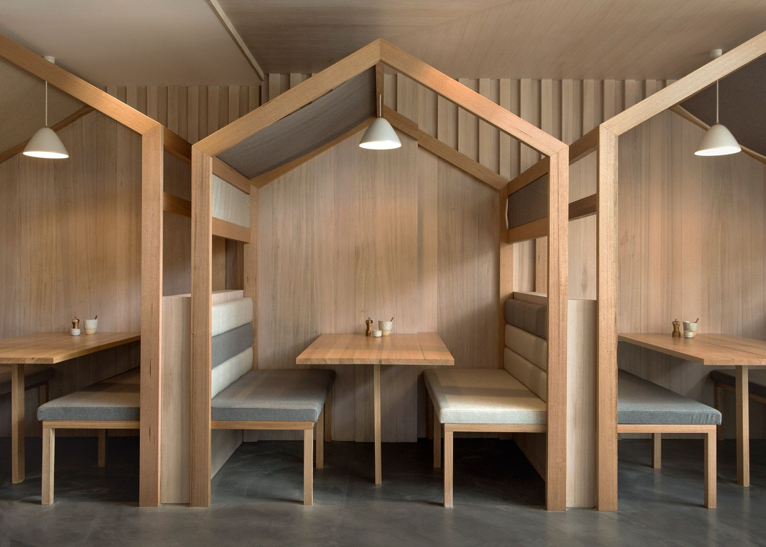 booths with pitched roofs added to restaurant kitty burns | roof