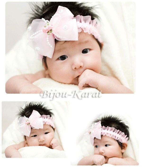 Baby Spitze Perlen Haarband Tüll Schleife Mädchen Haarschmuck Taufe Rosa Weiß