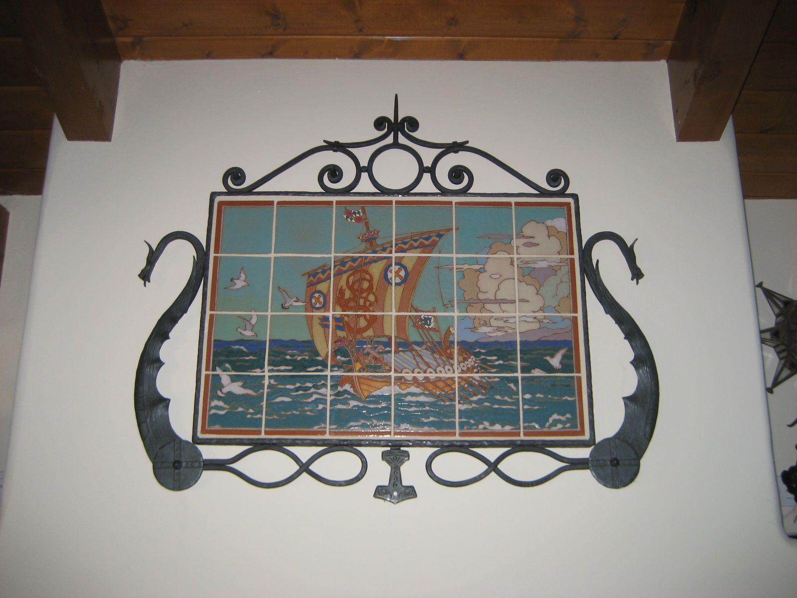 Original Gmb Viking Ship Mural In Our Custom Iron Frame Vintage