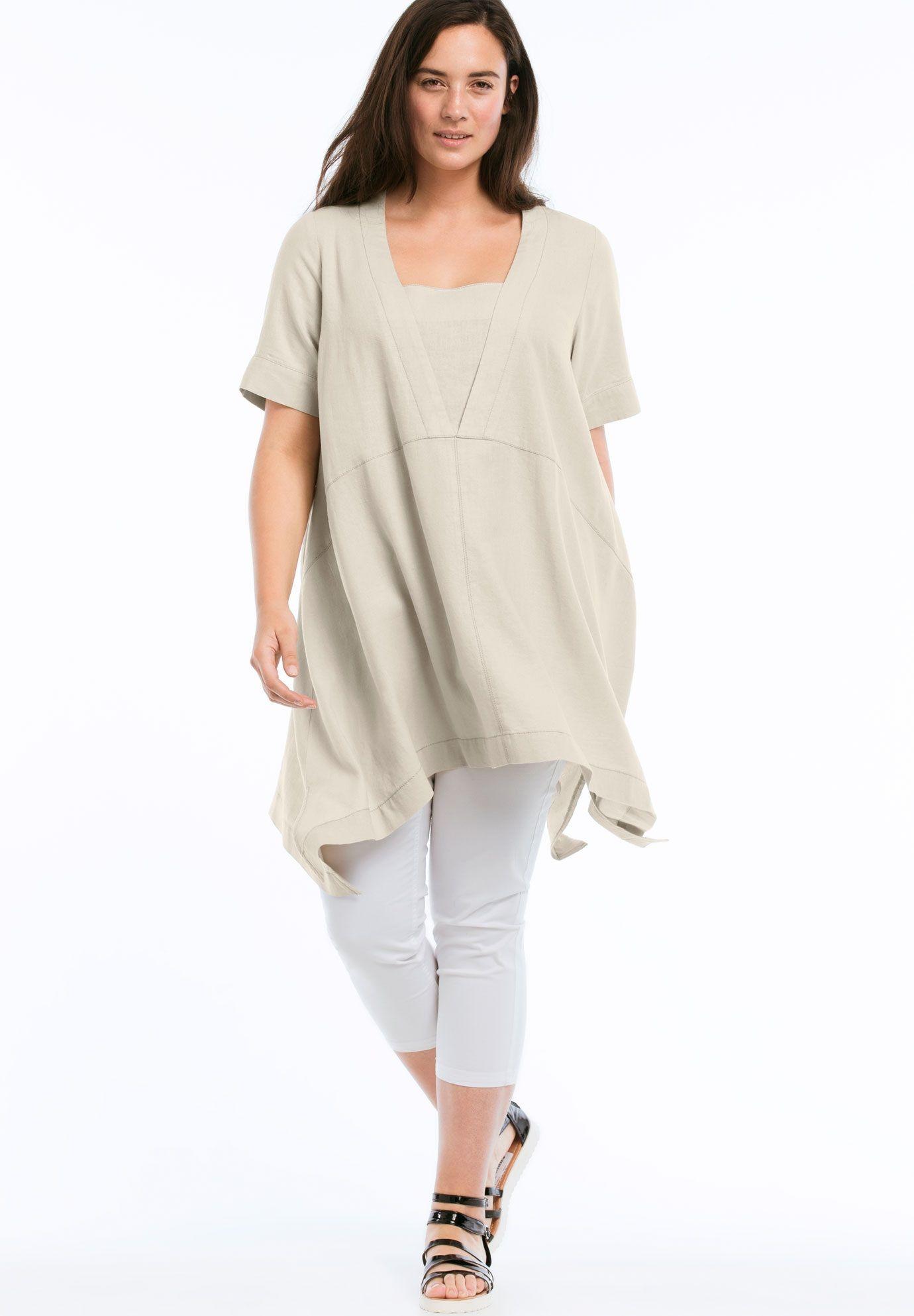 c707d6cc5 Linen-Blend Hanky Hem Tunic by ellos - Women s Plus Size Clothing ...